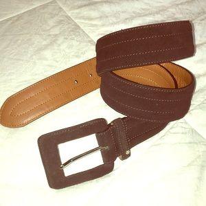 Vintage chaps genuine leather logo brown belt L